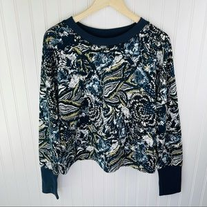 Joie Blue Leaf and Floral Print Pullover Sweatshirt Size XL